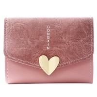 Lady Lovely Coin Purse Solid Heart Clutch Wallet Large Capacity Zipper Women Small Bag Cute Card Holder women wallets and purse