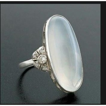 Womens Large .925 Sterling Natural Gemstone Moonstone Ring