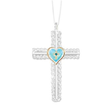Turquoise Heart with Cross Glass Ornament - Perfect Religious Gift