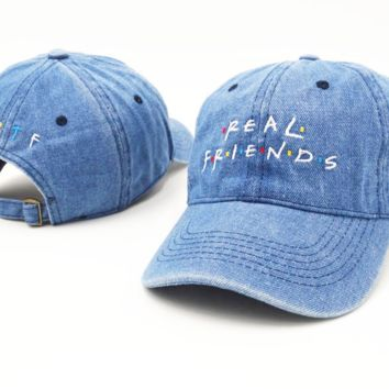 Unisex REAL FRIENDS Embroidered Hip-Hop Hat Good Friend Baseball Cap Adjustable