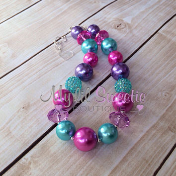 Hot pink, aqua and Purple chunky necklace, girls jewelry, wedding jewelry, children's necklace, bubblegum jewelry, bubblegum necklace