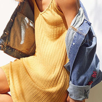 Silence + Noise Wide-Ribbed Knit Slip Dress   Urban Outfitters