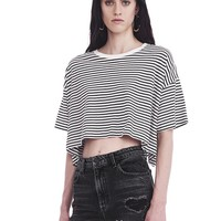 STRIPED SHORT SLEEVE DROP SHOULDER TEE | TOP | Alexander Wang Official Site