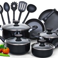 Cook N Home 15-Piece Soft Handle Non-Stick Cookware Set | Wayfair