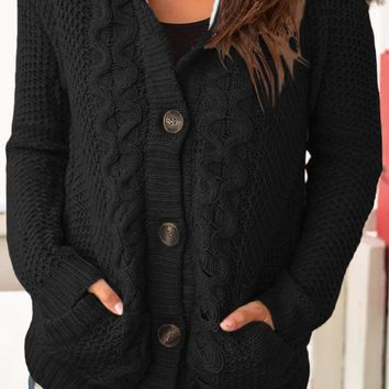Black Fur Hood Cable Knit Cardigan Sweater