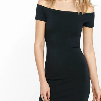 Black Stretch Cotton Off The Shoulder Dress from EXPRESS