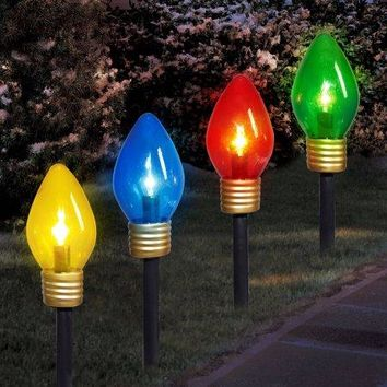 Christmas Outdoor Yard Lighted Pathway Lighting Lights Markers Decorations, Large Light Bulbs