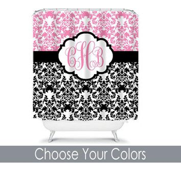 Damask SHOWER CURTAIN Pink Black Custom MONOGRAM Personalized Bathroom Decor Damask Bathroom Bath Towel,  Bath Mat