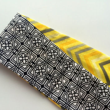 Womens Headband - Yellow Chevron Fabric Reversible Headband - Geometric Print Fabric Headband - Teen Fashion Headband - Casual Headband