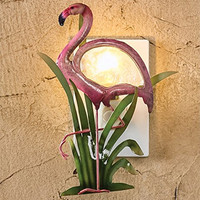 Pink Flamingo Night Light with Hand Cut Metal and Luminescent Capiz Shell