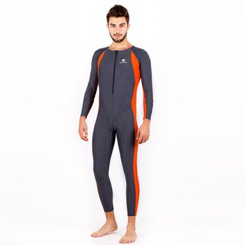 Men Professional One Piece Full Body Bathing Swim Suit Male Long Sleeve Surfing Sport Diving Windsurfing Rash Guard Swimwear