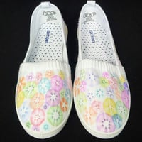 Casual canvas slip on shoes  size 7 tie dyed handcrafted.