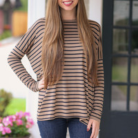 Stripe Piko Top - Mocha and Black