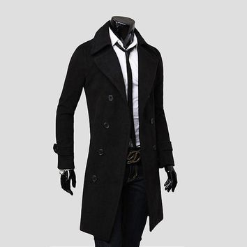Long Style Fashon Stylish Men's Winter Warm Wool Blended PeaCoat Double Breasted Overcoats Mens Outwear Jackets Plus Size M-4XL