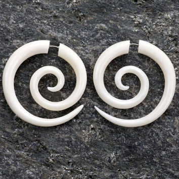 White Bone Large Spiral Fake Gauges Earrings