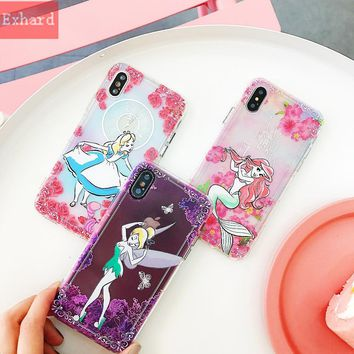 Transparent Shockproof Soft Case For iPhone X 8 Plus 7 Plus XR XS Max 6 Plus Cartoon Alice in Wonderland Gradient Mermaid Case