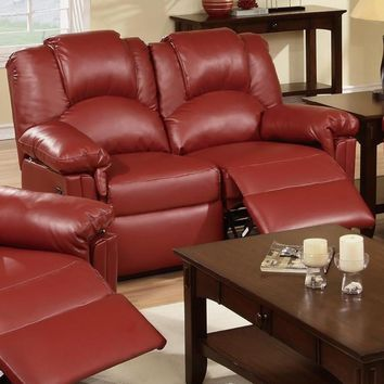Bonded Leather Recliner Loveseat, Red