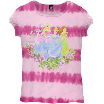 ICIK8UT Disney Princesses Garden Tie Dye Girls Juvy T-Shirt