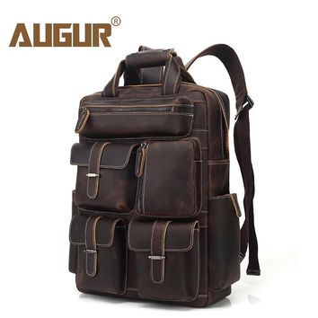 AUGUR Retro Genuine Real Leather Backpack Multi Pockets Travelling Backpack Luggage Bag Mochila Fits Under 15.6-Inch Laptop