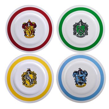 "Harry Potter 10.5"" Porcelain Dinner Plates Dinnerware Includes 4 Hogwarts Houses (Gryffindor, Slytherin, Hufflepuff, Ravenclaw)"
