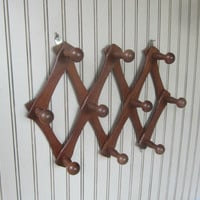 Expanding Wall Rack Accordion Peg Rack Fold Out Rack Brown Coat / Hat Rack Jewelry Organizer Vintage Wall Hanger with Hooks Large Pegs