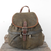 Vintage Dark Green Leather Backpack / Rucksack / Leather Rucksack / Day backpack