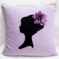 Shabby Chic Lady Portrait Floral Headpiece Lavender Black Decorative Pillow Cover. 16inch Light Purple Cushion Cover. Girls Room Decor