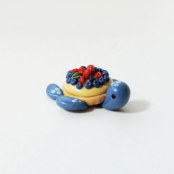 "Blue Berry Fruit Tart Turtle ""Tartle"" Miniature Figure"