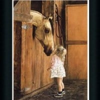 Little Visitor by Lesley Harrison Girl With Her Horse Framed Art Print Picture Wall Decor