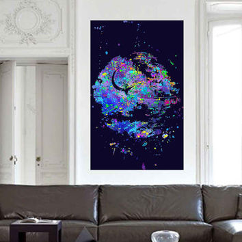 kcik1718 Full Color Wall decal poster space Watercolor paint splashes Star Wars Death Star nursery teenager