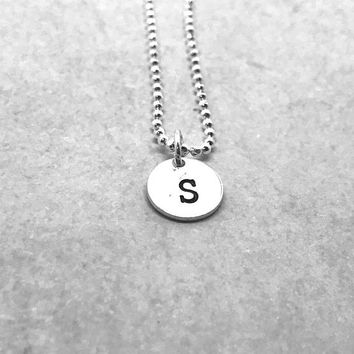 S Initial Necklace, Sterling Silver, Letter S Necklace, All Letters Available, Hand Stamped Jewelry, Gifts for Her, Everyday Jewelry