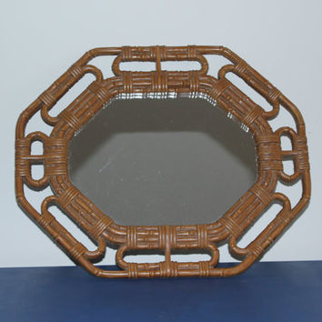 Vintage Homco bamboo wicker design octagon mirror
