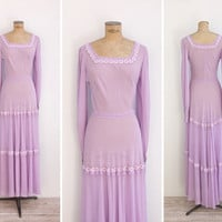 1970s Dress - Vintage 70s Lavender Chiffon Gown - Soul Of Provence Dress