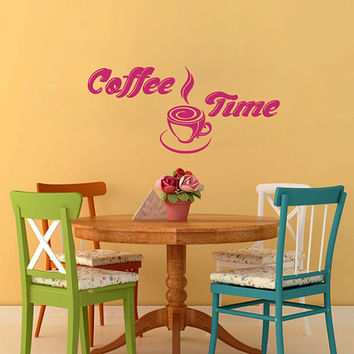 Vinyl Decalc  Coffee Time Cup Beans Quote Home Wall  Decor Removable Sticker Mural L521  Unique Design Kitchen Cafe  Shop