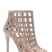 Champagne Glitter Piped Caged Peep Toe Heels