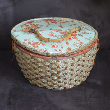 Vintage Basket Orange Woven Wicker Sewing Container An Exclusive Penney's Fashion Sewing Case 70's