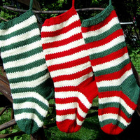 Set of 3 Christmas Stocking , Hand Knit Christmas Stocking,  Knitted Striped Christmas Stocking, Christmas Gift
