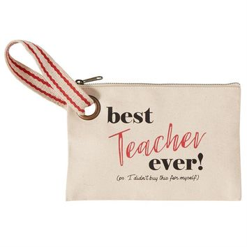 MUD PIE BEST EVER TEACHER CANVAS POUCH WRISTLET