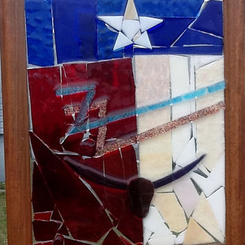 ZZ Top Stained Glass Mosaic Window Art / Sun Catcher OOAK  That Little Ole Band from Texas