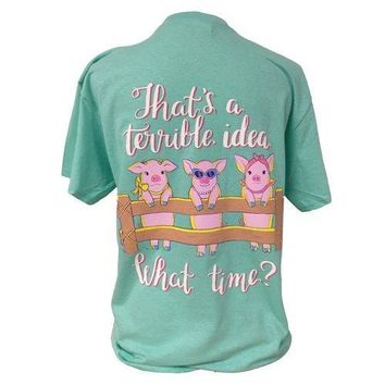 Southern Attitude Preppy What Time Pigs Mint T-Shirt