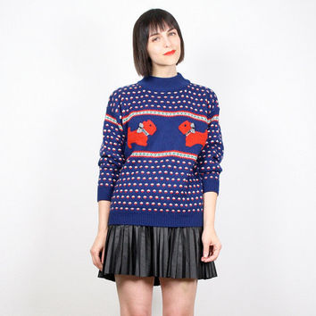 Vintage Scotty Dog Sweater Preppy Jumper 1980s 80s Pullover Navy Blue Red Bow Tie Ugly Christmas Sweater Nordic Sweater S Small M Medium