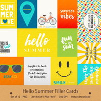 Hello Summer Filler Cards Journaling Insta Life Instagram Journal Scrapbooking Memory Keeping Pocket Smiley Face Sunglasses Word Art Quotes