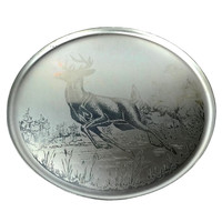 Aluminum Serving Tray, Etched Deer, Silhouette 1265, A Canadian Original