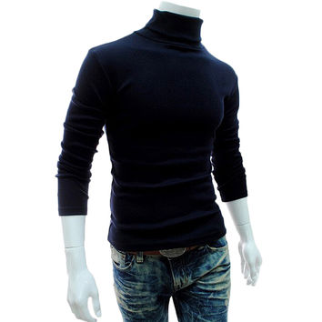 Men's Turtleneck Sweaters Winter Autumn Long Sleeve High Collar Sweater Warm Bottom Pullovers Fashion Male Clothing vodolazka