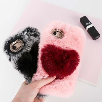 Love Heart Case For iPhone X XS Max XR 7 8 Plus Cute Rabbit Cover Hairy Fur Fluffy Phone Case For iPhone 6 6S 7 8 Plus 4 5C Capa