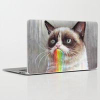 Grumpy Cat Tastes the Rainbow Laptop & iPad Skin by Olechka