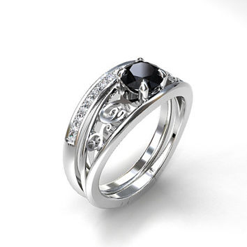 Black spinel filigree engagement ring set, diamond ring, half eternity ring, spinel, filigree engagement,, gothic, white gold, solitaire