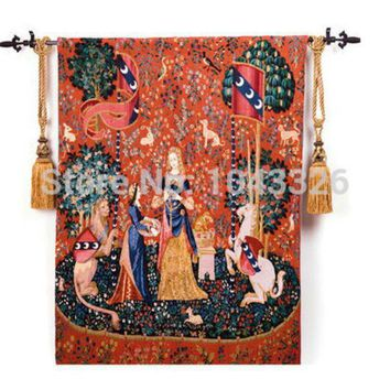 DCCKJG2 Belgium medieval art woven home textile unicorn series noblewoman 138*105cm aubusson wall hanging tapestry pt-2