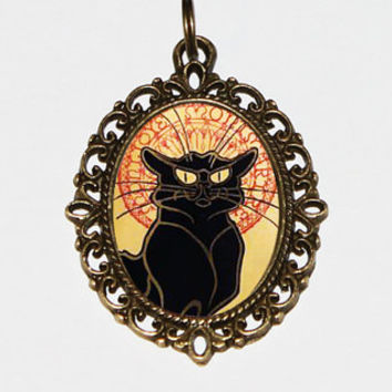 Black Cat Necklace, Chat Noir Jewelry, Theophile Steinlen, Bronze Oval Pendant