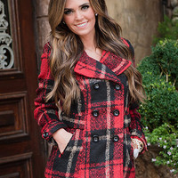 Going to the Cabin Red Plaid Coat